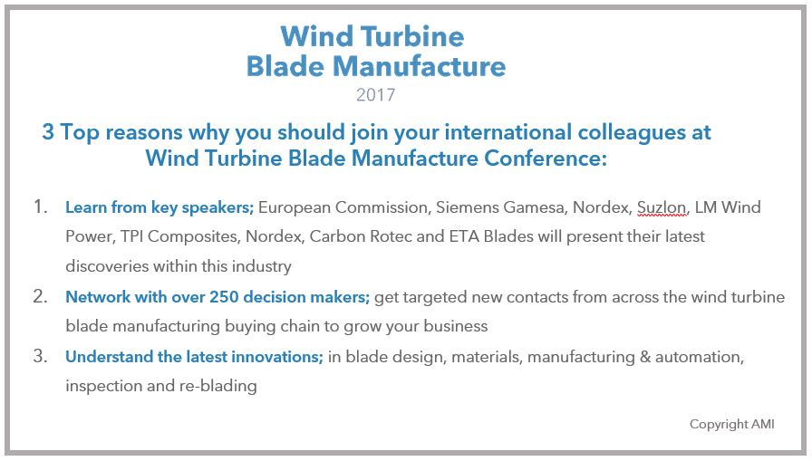 Over 60% of the global MW blade production to attend Wind Turbine Blade Manufacture Conference this month